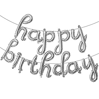 Happy Birthday Balloons Banner | Script|Cursive Letter Balloon Sign for Birthday Party Lowercase Letters Balloon| Foil Mylar Happy Birthday Banner  Silver