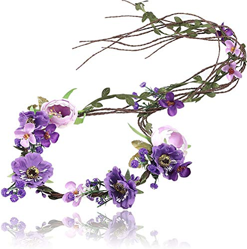 Flower Crown Headband Floral Headpiece - AWAYTR Women Girl Bohemia Adjustable Tree Rattan Leaf Flower Garland Hair Wreath Wedding photography Decoration (Purple)