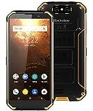 blackview bv9500 plus (2019) rugged smartphone offerta - helio p70 octa core, batteria da 10000 mah, 4gb + 64gb, 5,7 pollici fhd +, android 9.0, ip68 cellulare antiurto, ricarica wireless–giallo
