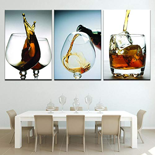 3 Panelen Moderne Artwork Prints Wijn Glas Canvas Muurschildering Moderne Home Keuken Schilderen Op Doek Poster 60X80Cmx3 Stks Geen Frame