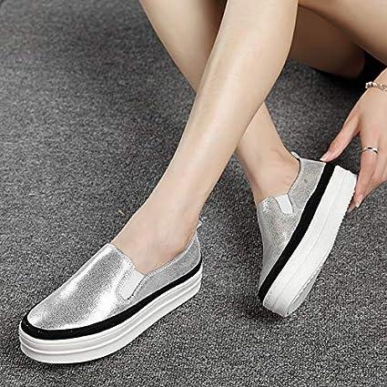 أحذية نسائية مسطحة - أحذية نسائية كاجوال سهلة الارتداء أحذية نسائية مريحة في الهواء الطلق أحذية نسائية جلدية سوداء أحذية بدون كعب (فضية 6)