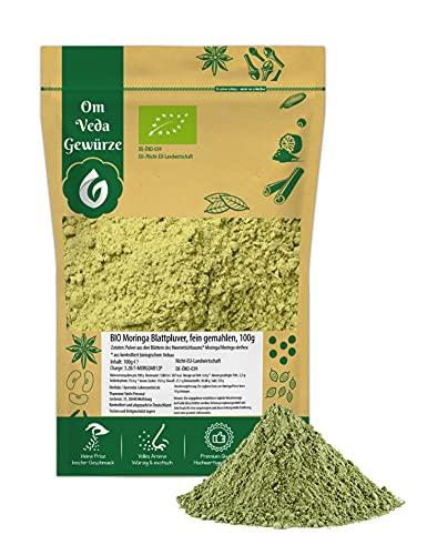 Moringa Pulver BIO 100g   Blattpulver Moringapulver   fein gemahlene Moringa Oleifera   Organic Bio-zertifiziert DE-ÖKO-039   Moringa Powder   Für Smoothies und Tee   OmVeda