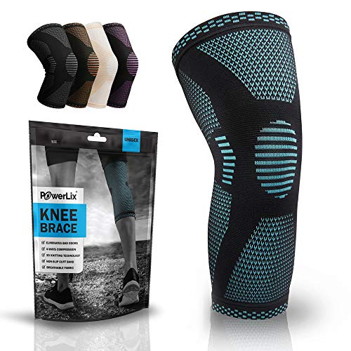 POWERLIX Knee Compression Sleeve - Best Knee Brace for Knee Pain for Men & Women – Knee Support for Running, Basketball, Weightlifting, Gym, Workout, Sports – Please Check Sizing Chart