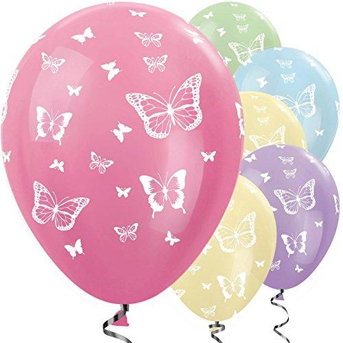 amscan 20009866 Latex-Luftballons, Schmetterlingsmotiv, Pastell-Mix, 25 Stück