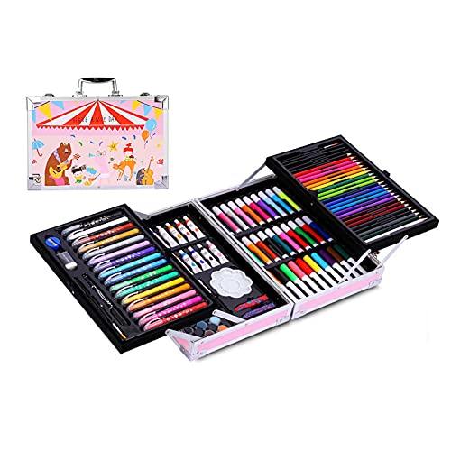 FENGXU Maletín de Lápices de Colores,Estuche de Pintruas para Niños, Incluye Crayones de Cera, Acuarelas, Lápices de Dibujo, Pasteles, Rotuladores, Gomas de Borrar, Conjunto Ideal para Artistas