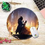 DISNEY COLLECTION Mouse Pad Round Stitched Edges Beast Beauty Disney Love Prince Princess and The Team