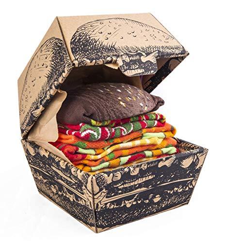 Rainbow Socks - Damen Herren Lustige Vegan Hamburger Socken Box - 2 Paar - Größen EU 41-46