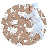 JHKHJ Alfombra para niños círculo, alfombra colchas, utilizado en la familia dormitorio sala de juegos decoración del suelo animales granja 70x70cm