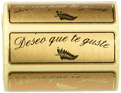 Pryse 3280031 - Rollo de 300 etiquetas, 50 x 18 mm, diseño'Deseo que te guste'