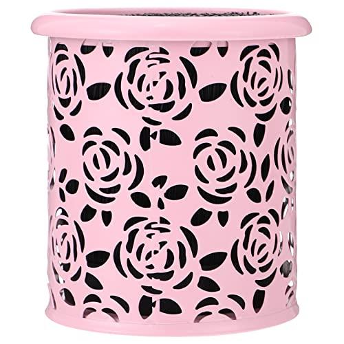 Titular de La Taza de Lápiz de Metal: Mini Lápiz de Escritorio Almacenamiento Pot Hollow Rose Flor Patrón Mesa Maquillaje Pincel Organizador de Contenedores para Oficina en Casa