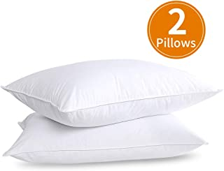 HOMBYS Set of 2 White Goose Feather Down Bed Pillows - Luxury Natural Feather Pillows Insert for Sleeping 2 Pack Standard Size Hotel Support Hypoallergenic 100% Cotton Downproof Cover(White,2 Pillows)