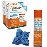 ARDAP Set 1 x 400 ml Flohspray + 4 x 100 ml Fogger gegen Flöhe + Microfasertuch