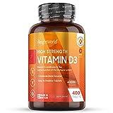 Vitamina D3 4000 UI Dosis Alta - 400 Días de Suministro, Estimula Sistema Inmunitario, Mejora...