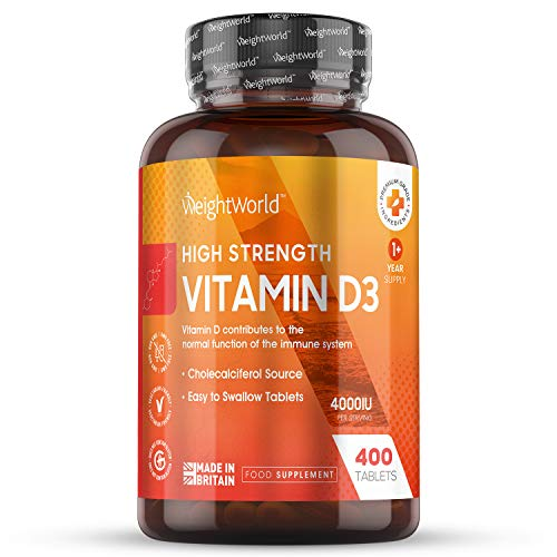 Vitamin D 4000IU High Strength - 400 Tablets (1+ Year Supply) Strong Vitamin D3 Supplement for Immune Support, Calcium Boost, Skin Health, Bone & Joint Care, VIT D Without Sun, Veggie & Keto Friendly