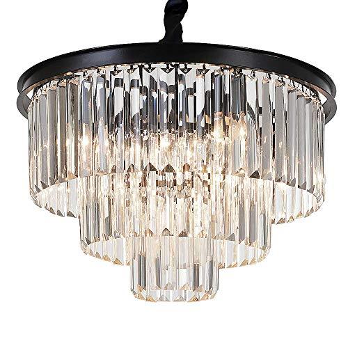MEEROSEE Crystal Chandeliers Modern Chandelier Island Lighting 8 Lights Raindrop Pendant Ceiling Light Fixture 3-Tier for Dining Room Living Room Kitchen Bedroom D19.7' Clear Crystal