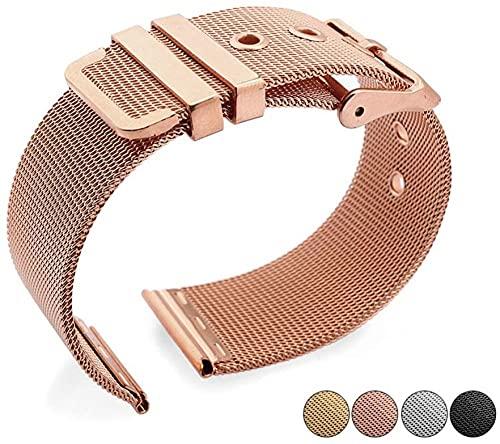 Reloj Correa de acero inoxidable Correa de malla trenzada de acero sólido de la correa de la cadena de la cadena de relojes accesorios de longitud ajustable de color dorado-Oro rosa_20mm Excellen