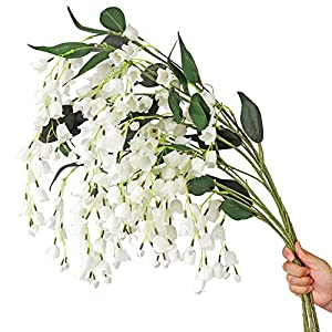 LIUCOGXI 5pcs Lily of The Valley Flower with Long Stem 41 inch Artificial White Wedding Bridal Holding Bouquet Party Garden Floor Tall Vase Decoration