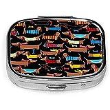 I Love My Dog Dachshunds Caja de pastillas cuadrada personalizada Caja decorativa Contenedor de vitaminas Bolsillo o billetera