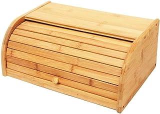 LHJCN Cuisine Roll Top Boîte De Rangement du Pain Maison Cuisine Multi-Fonction Divers Boîte Porte-Pain en Bambou Naturel ...