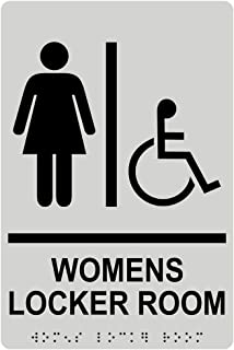 Womens Locker Room Sign, ADA-Compliant Braille and Raised Letters, 9x6 in. Pearl Gray Acrylic Plastic with Adhesive Mounting Strips by ComplianceSigns