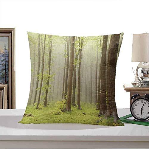 NA Kwadratowa wewnętrzna poszewka na poduszkę leśna, mgła wiosna las bukowy zdjęcie zrobione w górach Europy Środkowej, brązowa zielona można prać w pralce