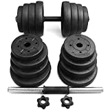 Yaheetech Kurzhanteln-Set Hantelscheibenset 30 kg, 16 Gewichte, 2 Stangen gerändelt mit...