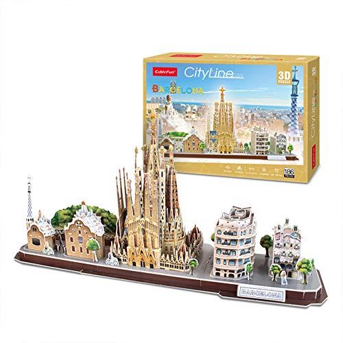 GHmarine Puzzle 3D Attrazioni Famose nel Mondo, Costruzione di Città Combinazione Modello di assemblaggio Giocattolo Giocattoli educativi per Bambini Inserisci Giocattoli(Barcelona, Spain)