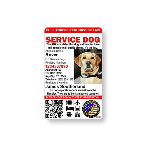 Just 4 Paws Custom Holographic QR Code Service Dog ID Card with Registration to U S Service Dogs Registry Plus ID Holder & Free Electronic ID - Portrait Style