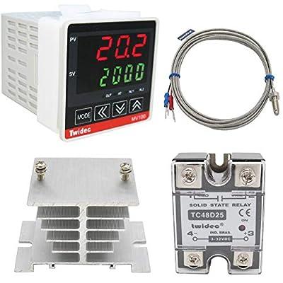 Twidec/ MV100-B10 Digital Display PID Temperature Controllers Thermostat Regulator AC 85V - 265V + K Sensor Thermocouple + Heat Sink and Solid State Relay SSR 40 DA Or 25 DA?can Choose?