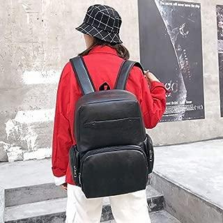 WTYD Double Shoulder Bag Stereoscopic PU Leather Sports Double-Shoulder Bag Messenger Bag for Men (Black) (Color : Black)