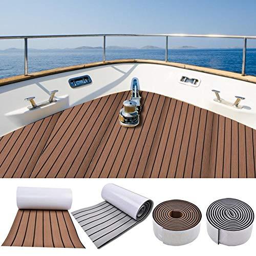 Espuma EVA imitación teca para barcos Decking de teca sintética Decking para barcos sintéticos Decking para barcos Yacht Suelo marino Alfombra antideslizante con reverso adhesivo, borde biselado