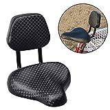 Denret3rgu Ciclismo Ancho Confort sillín de Bicicleta de Cuero de imitación Asiento con Respaldo Respaldo