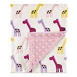 Hudson Baby Unisex Baby Plush Mink Blanket, Pink Giraffe, One Size