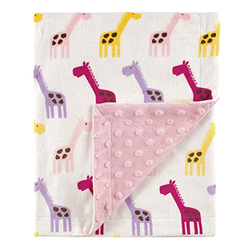 Hudson Baby Printed Mink Blanket with Dotted Backing, Pink Giraffe