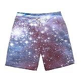 BRILIGHTEN Sternenlicht 3D Grafik Badehose für Herren Schnell-trockene Strandhosen Freizeit Surf Schwimmen Laufen Board Shorts,M
