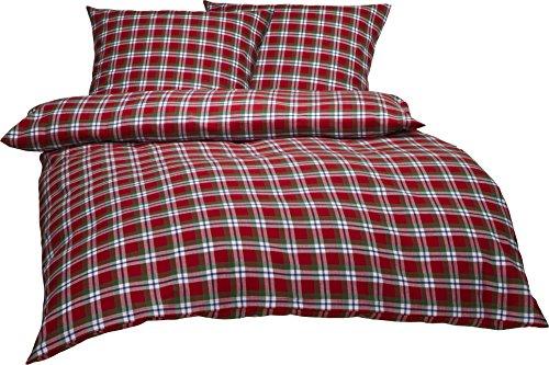 Bettwaesche-mit-Stil warme Fein-Flanell Winter Bettwäsche Toronto Landhaus Karo rot grün weiß kariert (200 cm x 200 cm + 2X 80 x 80)
