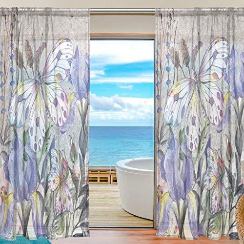 Mnsruu Cortinas de Ventana Transparentes para Sala de Estar Dormitorio Vinatge Flores de Mariposa Conjunto de 2 Paneles de Cortina de poliéster Estampado de poliéster, 213x140cm