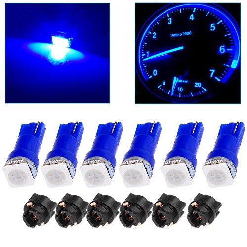 cciyu 6x Car T5 5050 1SMD Wedge Xenon White LED Light Bulbs + 6x T5 Twist Sockets 17 37 70 Instrument Panel Cluster Plug Lamp Dash Light Bulb (blue)