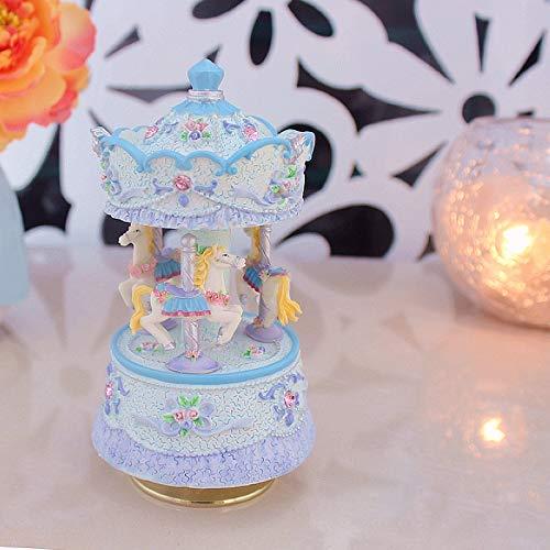 BYBAY Music Box Mini Music Box Regalo de cumpleaños para niña Regalo Caja de música Carrusel Día de San Valentín Decoración para el hogar, Azul