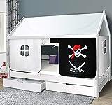 Hausbett 90x200 Kinderbett mit Rolllattenrost Hochbett Spielbett Massivbett (Vorhang Pirat, Ohne Schublade)