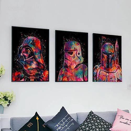JJH DIY ölgemälde by Zahlen kit für Erwachsene anfänger triptychon Foto Raum wanddekoration Star Wars Bilder leinwand acrylfarben 40x50 cm rahmenlose 3 Teile/Satz