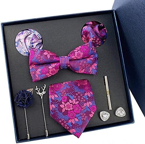 ZHANGQQ Men's tie Suits,Men's tie New Polyester Men's Tie Men's Bow Tie Pocket Square Tie Clip Cufflinks Light Luxury Gift Box Set (Color : A)