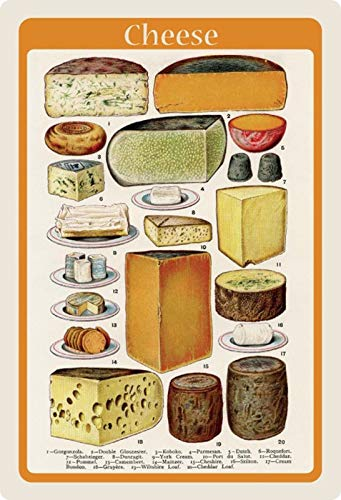 Generisch blikken bord 20x30cm poster tafel Cheese overzicht kaas soorten keuken bord