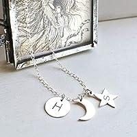 Personnalisé Argent Sterling Soleil, Lune et Étoile Collier, cadeau personnalisé, bijoux céleste, collier de lune,...