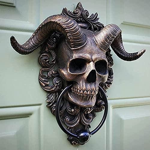 ZLHW Aldaba de puerta colgante de calavera antigua, decoración Aldabas de puerta principal, decoración de puerta colgante de calavera de resina resistente Aldaba de puerta gótica, para accesorio indus
