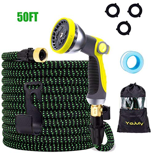 YOJULY Expandable Garden Hose,50 ft Leakproof Lightweight Garden Water...
