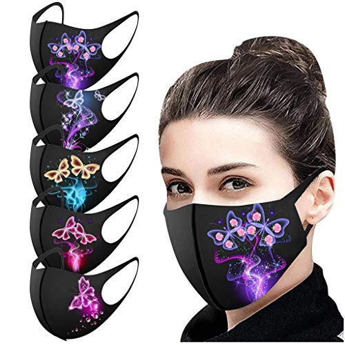Tenworld Pack of 5, Unisex Face Balaclava Washable Protection Mouth Nose Shield