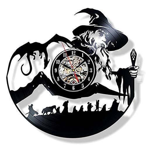 JXWH Vinylplatte Wanduhr denkwürdige Vintage Wanduhr Meister Gandalf Stil Uhr im Wohnzimmer