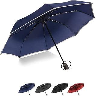 Windproof Travel Umbrella, Portable Automatic Open Close Umbrella with Teflon Coating, Waterproof & Windproof, Reflective Stripe, Compact Umbrellas with 8 Fiberglass Ribs (Navy Blue)
