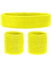 Widmann 05835 – neonowe opaski przeciwpotowe, opaska na czoło i 2 bransoletki, żółte, lata 80., akcesoria odzieżowe, styl retro, świat sportu i kibica, dyskoteka, impreza tematyczna, karnawał